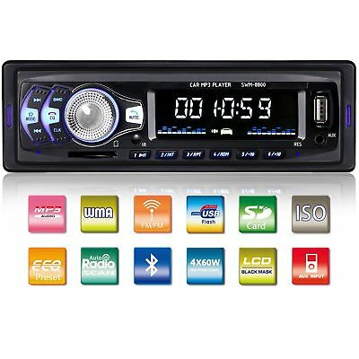 Car Stereo Radio Bluetooth Audio Receiver Single Din FM MP3 USB AUX SD for iPod