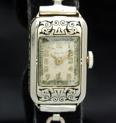 ELGIN Art Deco LADIES SOLID 14K White Gold ENAMEL WATCH 15 Jewels RARE 1920s 30s