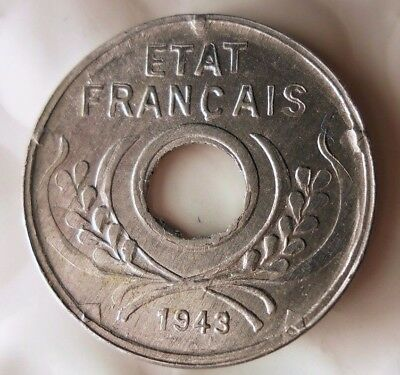 1943 FRENCH INDOCHINA 5 CENTIME - Excellent WW2 VICHY Coin - Lot #J16