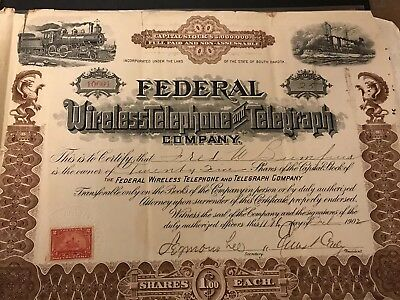 Federal Wireless Telephone And Telegraph Company Stock Certificate. 1902!