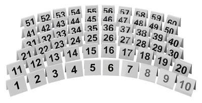 """White Plastic Table Numbers Tent Shaped for Restaurant Table 2"""" x 2""""  Sets of 10"""