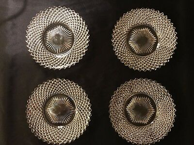 Set of 4 Anchor Hocking Miss America Clear Depression Glass Bread Plates