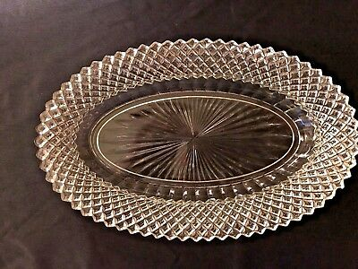 Anchor Hocking Miss America Clear Depression Glass Oval Serving Dish Small