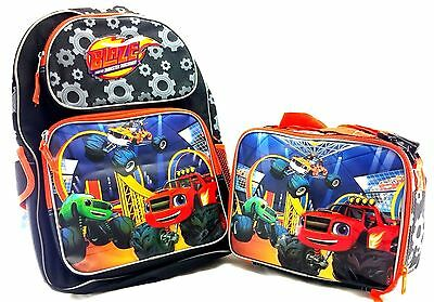 "Blaze And The Monster Machines Boys 16"" Orange School Backpack w/Insu. Lunch Bag"