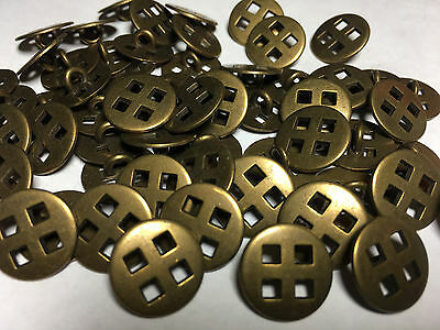 """50 METAL BUTTONS CUT OUT SQUARES ANTIQUE BRASS Finish 15/MM 5/8"""" Shank Base"""