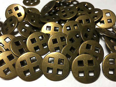 """100 METAL BUTTONS CUT OUT SQUARES ANTIQUE BRASS Finish 18/MM 11/16"""" Shank Base"""