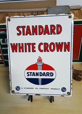 1951 STANDARD WHITE CROWN porcelain sign gasoline gas pump plate vintage oil