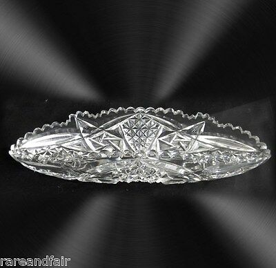 Libbey signed celery dish in clear crystal - Nassau pattern - FREE SHIPPING
