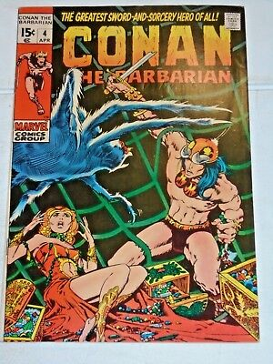 Conan The Barbarian #4 comic (VF+) 1971 Barry Smith art