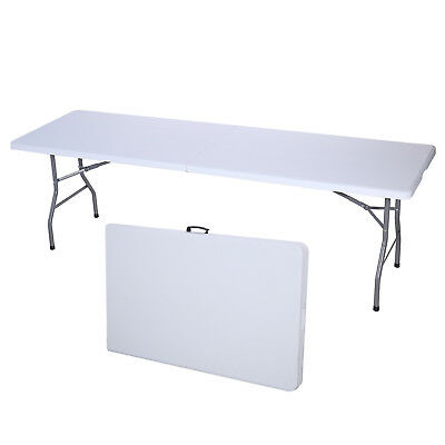 8FT White Portable Folding Table Indoor Outdoor Camp Party Picnic Table