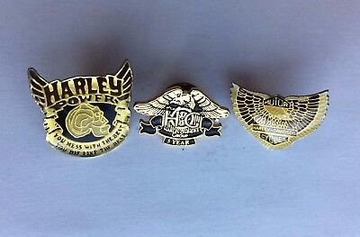 Vintage Harley Davidson Pin Lot HOG 5 Year Power Eagle Wings Enamel Motorcycle