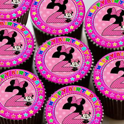 Minni Mouse Age 2 Pink 2Nd Birthday Edible Cupcake Topper Decoration