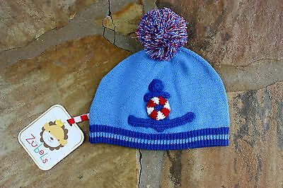 NEW Zubels Hand Knit Anchor Hat Boys 0-6 mths Blue