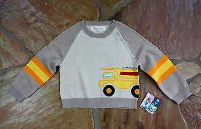 NEW Hand Knit Zubels Construction Truck Sweater 18 mths Boys Spring