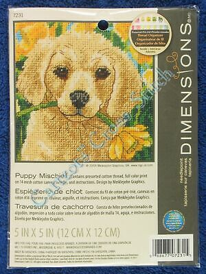 "Needlepoint Kit Puppy Mischief Golden Retriever Flower Mini 5"" x 5"" Dimensions"