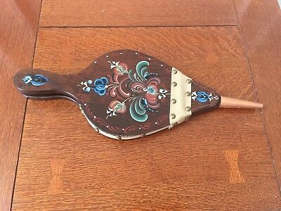 Vintage Wood Brass Copper Leather Floral flowers fireplace bellows