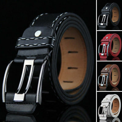 Men's PU Leather Dress Belt Casual Pin Buckle Waist Strap Belts Waistband Gentle