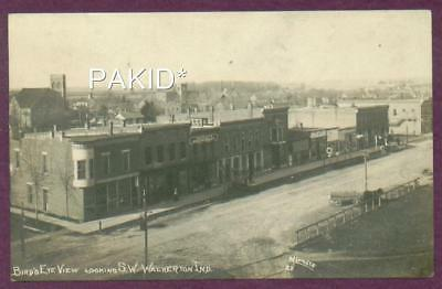 E. 1900s RPPC BIRDSEYE VIEW LOOKING SW WALKERTON IND HORSE WAGON COKE SIGNS