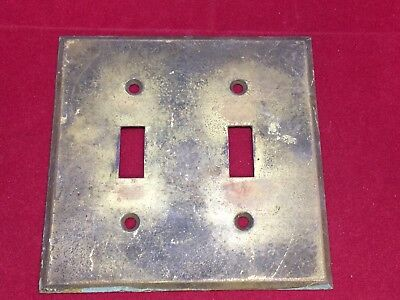 """Antique Brass Double Light Switch Wall Plate Great Patina Beveled Edge 4.5"""""""