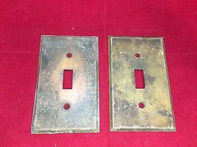 Vintage Pair Brass Light Switch Wall Plates Great Patina Beveled Edge