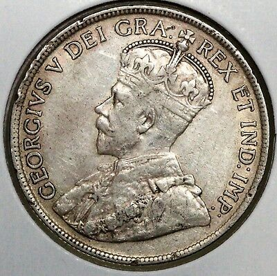 1919-C Newfoundland 50 Cents Xf .925 Sterling High Grade Low Starting Price!