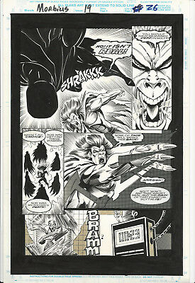 Original Comic Art 11x17 Morbius 19 page 26 Deathlok and Morbius