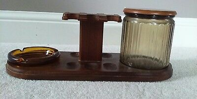 Vintage Atomic Retro Style Wood and Metal Pipe Holder Humidor Aztec Humistat
