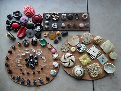 Antique Vintage Button Lot/Old Collection Bakelite Celluloid Glass Metal Luster