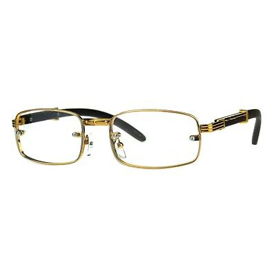 Rectangle Wood Buffs Glasses Clear Lens Gold Unisex Fashion Eyeglasses UV400