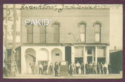 1918 Rppc Frankton Indiana Drug Store & Rooms For 10 Cents