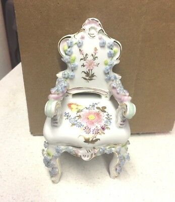 vintage hand painted Porcelain floral miniature chair made in Japan