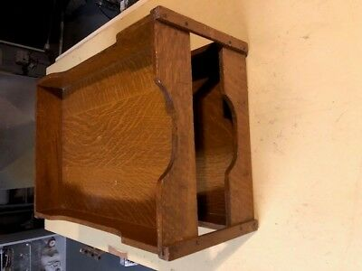 """1910's Solid Tiger Oak Desk Top In/Out File Organizer Legal Size 11"""" X 15"""""""