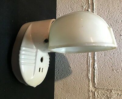Vintage DECO Porcelain Wall Sconce Light Fixture with Milk Glass Shade
