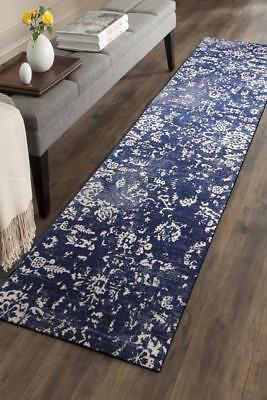 Hallway Runner Hall Runner Rug Modern Blue 4 Metres Long Premium Edith 264