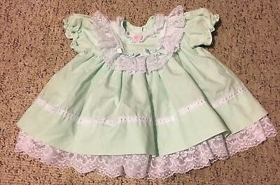 Girls Vintage Mint Green Mini World Ruffle Twirly Lace Dress Lolita Kawaii 12m
