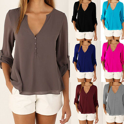 Women Chiffon Casual Long Sleeve V-neck OL Tops Shirts Blouse Clothes Plus Size