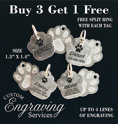 Custom Engraved STAINLESS STEEL PAW Pet Tag PAW PRINT Dog Cat ID IDENTIFICATION