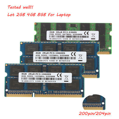 Lot Laptop Memory 8GB 4GB 2GB DDR2 DDR3 667 800 1333 Mhz 1.5V 1.8V SODIMM @1H