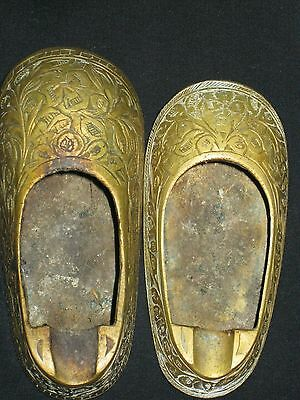Two Vintage Brass Personal Ashtray Shoe Shape Hand Made Etched Marked India