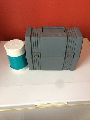 Blue Plastic Vintage Lunch Box With Thermos