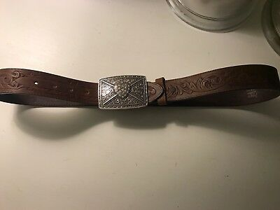Tony Lama  Tooled Brown Leather Belt Heart Buckle, Size 36, Made in USA