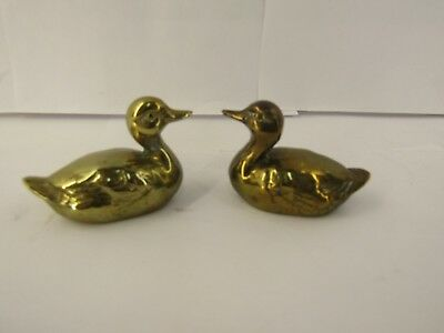 Pair of Vintage Solid Brass Duck Figures - Miniature