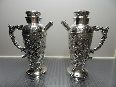 ANTIQUE c1896 LARGE matching pair of cocktail shakers by Wilhelm Hofmann. HANAU