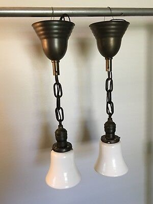 """18.5"""" Long Brass Pendant Light Fixture Pair Wired With Milk White Globes 19D"""