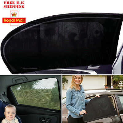 2x Car Sun Shade Shield Cover for Rear Side Window Max UV Protection Black XXL