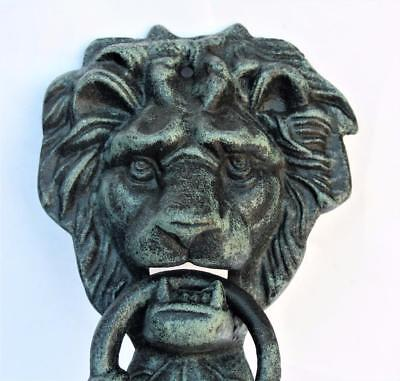 New Large - Bearded Lion Head Door Knocker Foundry Cast Iron Verdigris Finished
