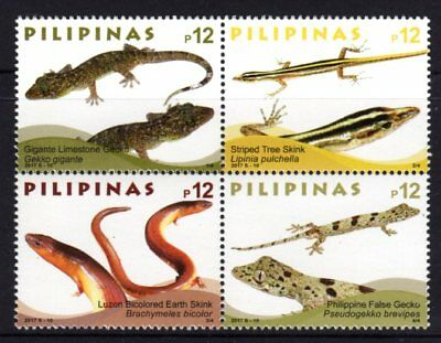 Philippines 2017 Endemic Lizards Block 4 MNH