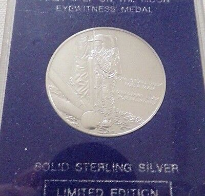 FIRST STEP ON THE MOON EYEWITNESS MEDAL- STERLING SILVER- Franklin Mint- Limited
