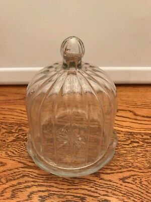 Glass Round Covered Butter Cheese Dish w/Domed Lid.