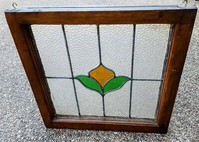VTG. PRAIRIE STYLE STAINED GLASS HANGING WINDOW OAK FRAME Yellow Rose Flower Tx